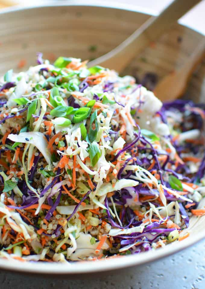 Asian Quinoa Slaw Salad with Sesame Ginger Vinaigrette
